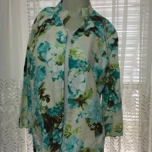 Linen Floral Buttonless Jacket Sz 12